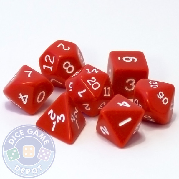 Red D&D dice set