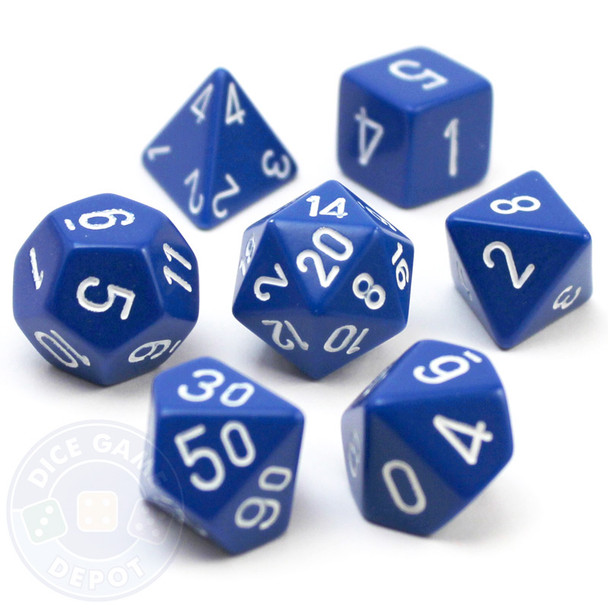 Opaque blue 7-piece D&D RPG dice set