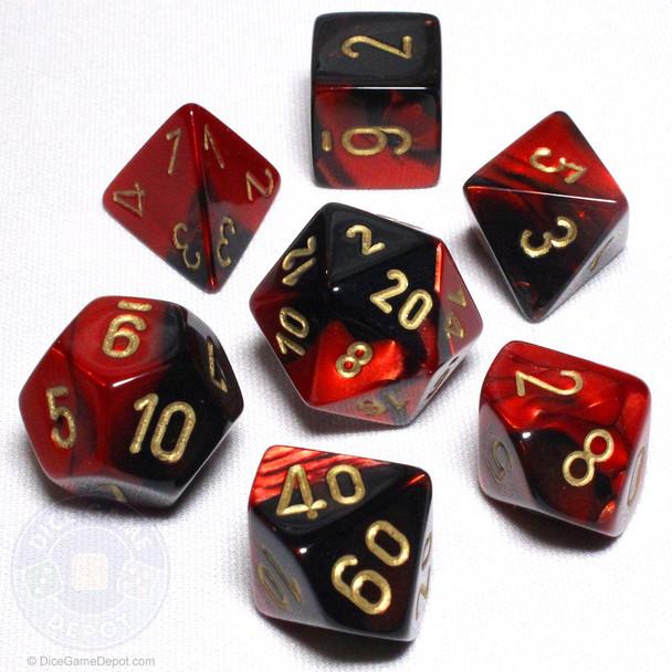 Black and Red Gemini Dice Set - DnD dice