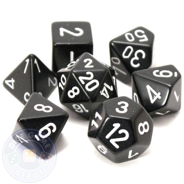 Opaque black 7-piece D&D RPG dice set