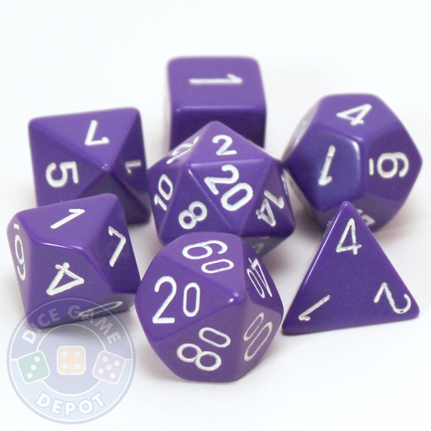 Opaque purple polyhedral dice set for DnD, Pathfinder