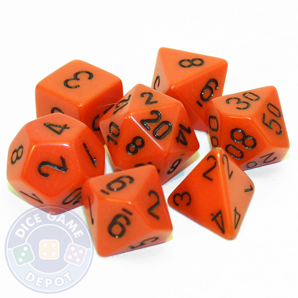 Opaque orange 7-piece D&D RPG dice set