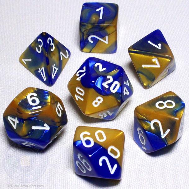 Blue and Gold Gemini Dice Set - DnD Dice