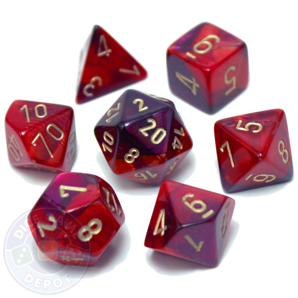 7-piece Gemini dice set - D&D dice - Purple and Red