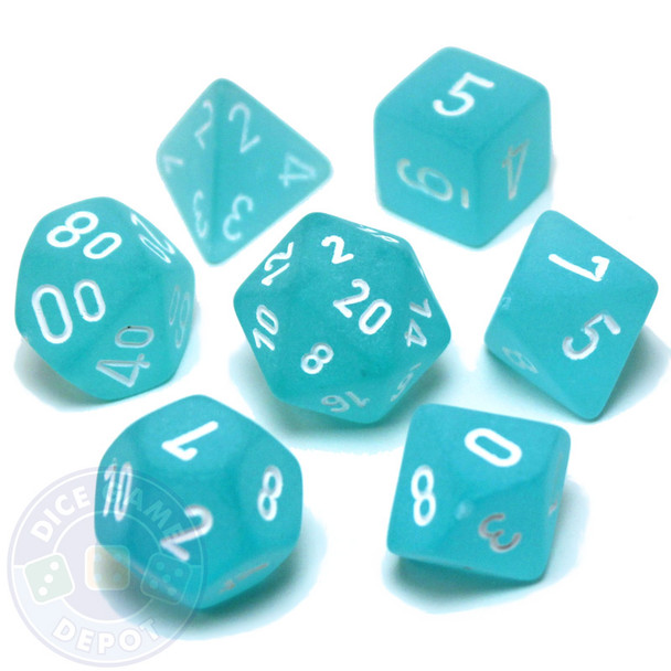 D&D dice set - 7-Piece polyhedral dice - Frosted Teal