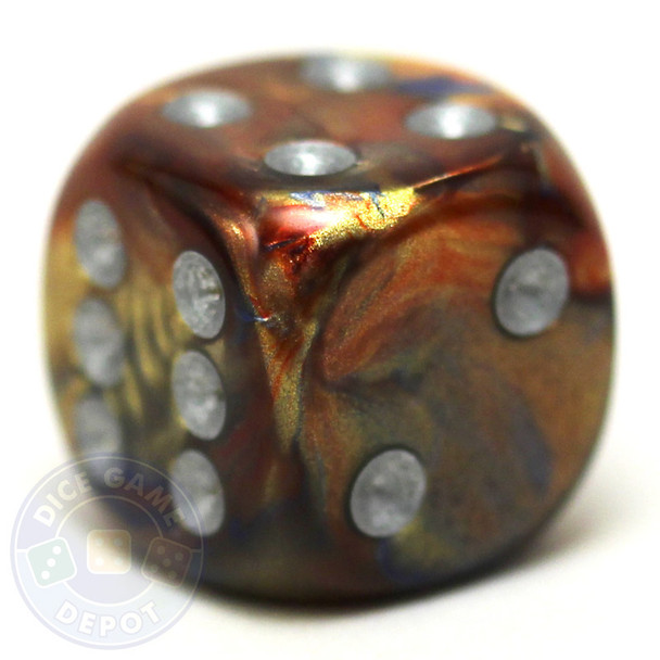 Lustrous Gold 6-sided die with silver spots