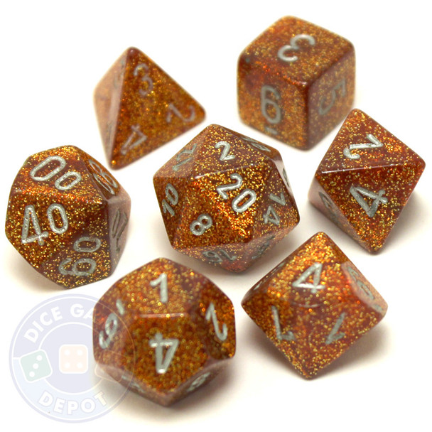 D&D dice set - 7-Piece RPG dice - Glitter Gold
