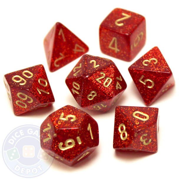 D&D dice set - 7-Piece RPG dice - Glitter Ruby