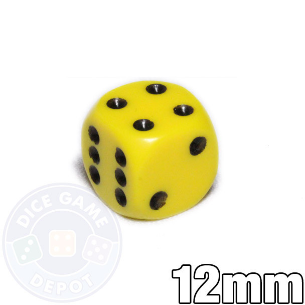 Round-corner 12mm opaque yellow dice
