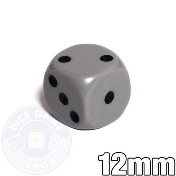 Gray round-corner 12mm opaque dice