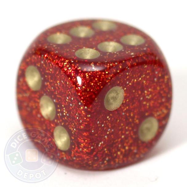 Glitter dice - Ruby