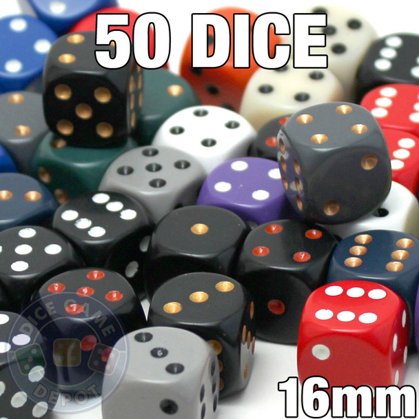 Assorted dice - 50 16mm opaque dice