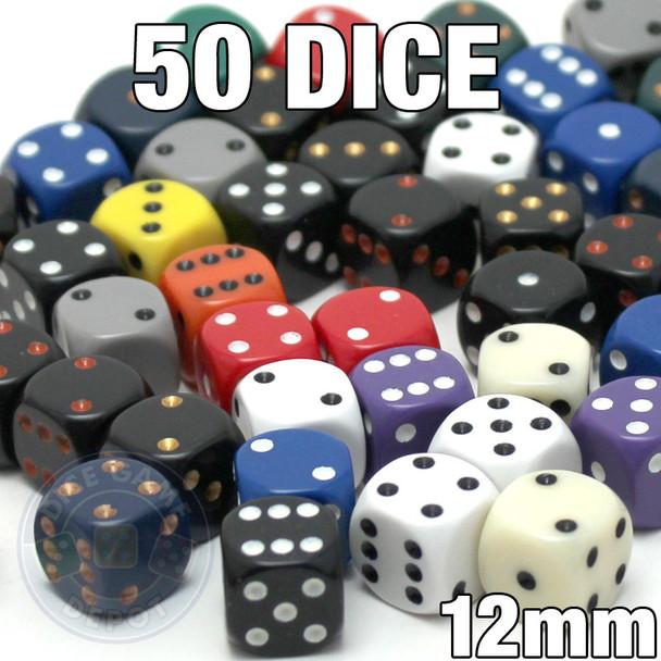 Assorted dice - 50 12mm opaque round-corner dice