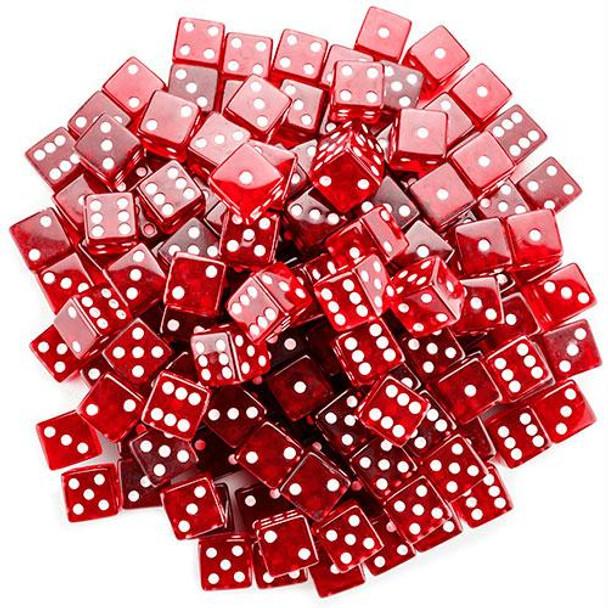 Transparent Dice - Set of 100 Red 19mm d6s