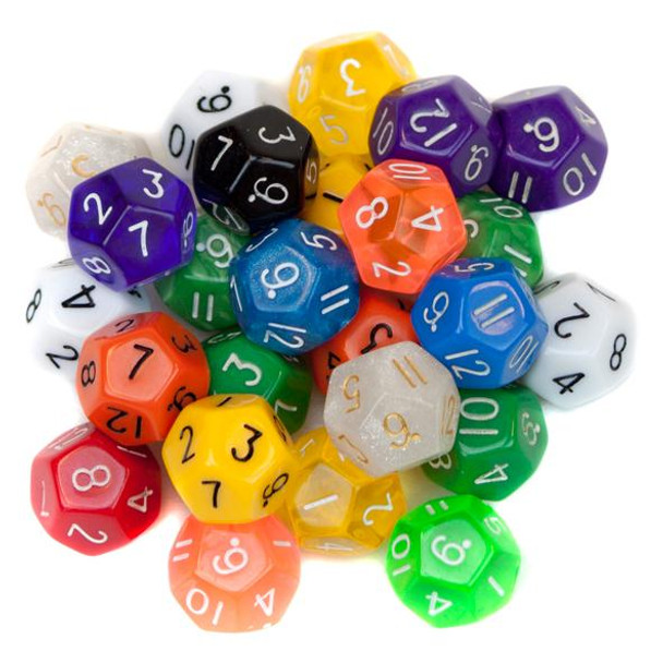 Pack of 25 Random D12 Polyhedral Dice in Multiple Colors