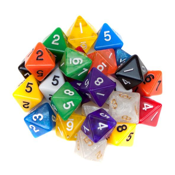 Pack of 25 Random D8 Polyhedral Dice in Multiple Colors