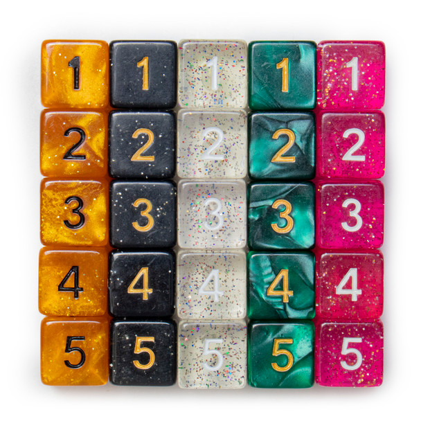 6-sided numeral dice in assorted colors - Pack of 25