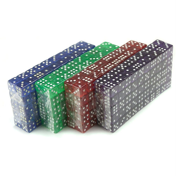Set of 400 transparent dice - Red, blue, green, purple