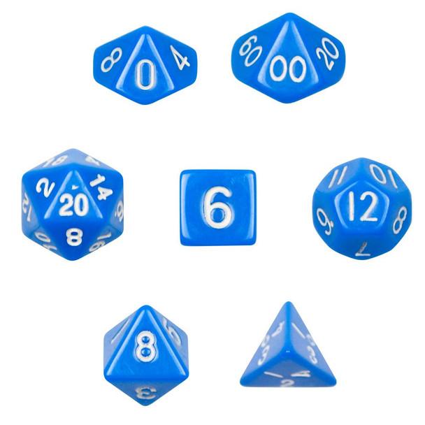Opaque 7-piece Dice Set in Velvet Pouch - Blue