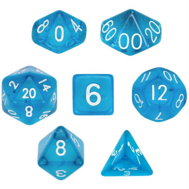 Transparent blue polyhedral dice set - D&D dice