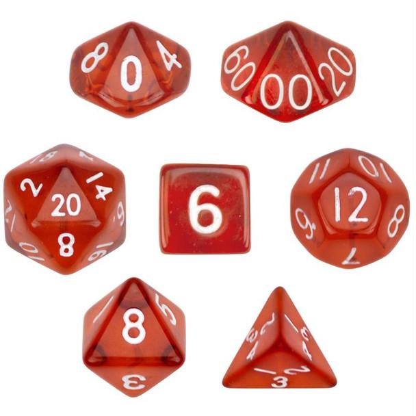 Transparent red polyhedral dice set - D&D dice