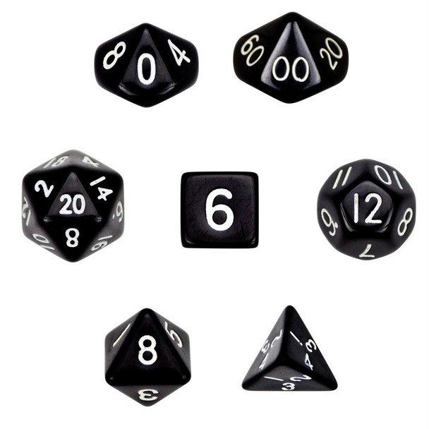 Opaque black polyhedral dice set - D&D dice