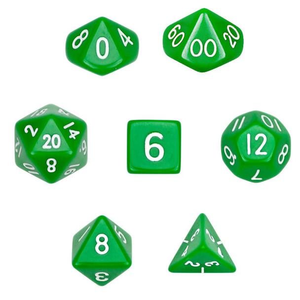 Opaque green polyhedral dice set - D&D dice