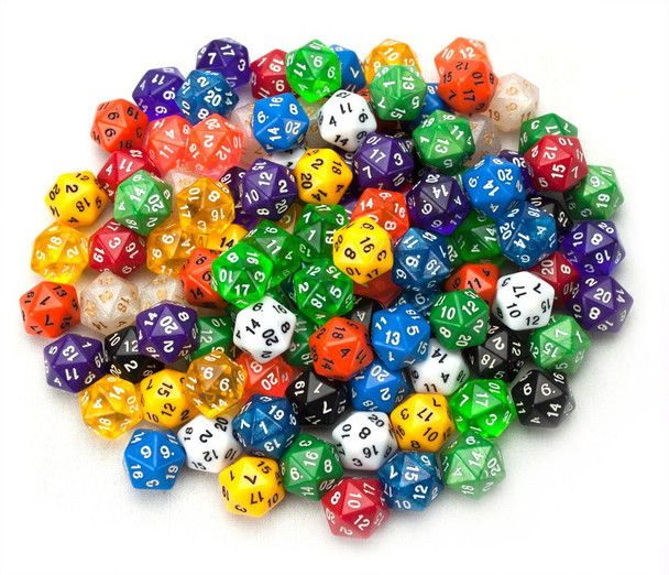 Pack of 100+ Random D20 Polyhedral Dice in Multiple Colors