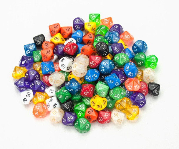 Pack of 100+ Random D10 (00) Dice in Multiple Colors