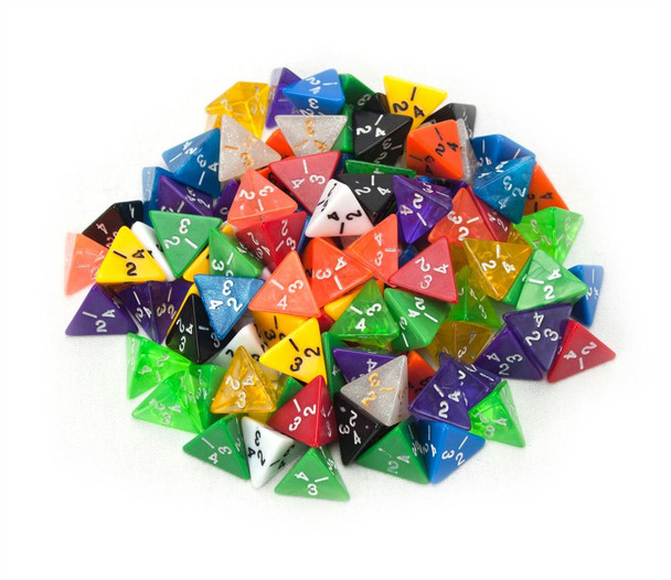 Assorted 4-sided dice set of 100