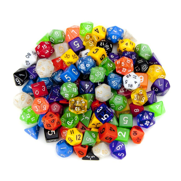 Pack of 100+ Random Polyhedral Dice with Free Pouch