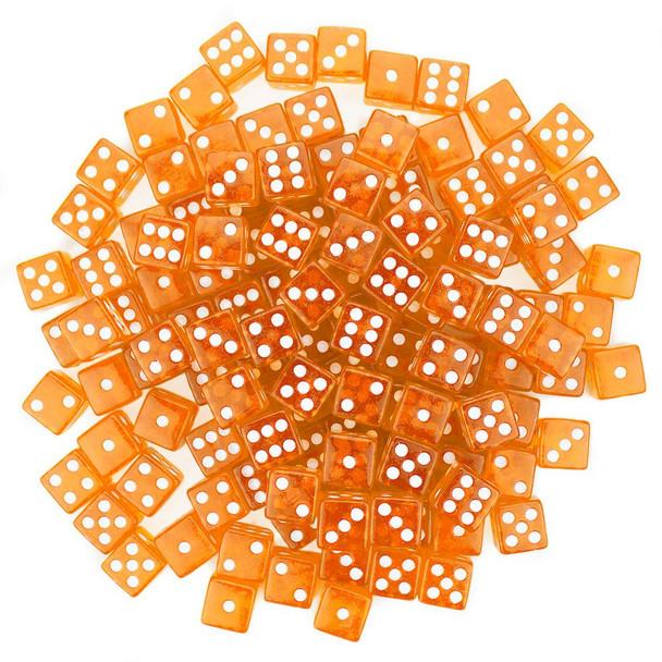 Transparent Dice - Set of 100 Orange 16mm d6s