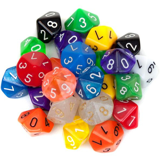 Pack of 25 Random D10 Polyhedral Dice in Multiple Colors