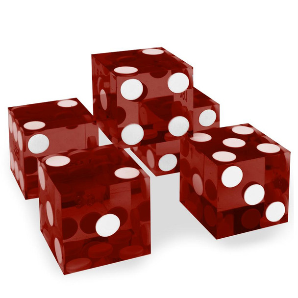 Precision Dice - Set of 5 Red Grade A 19mm d6s