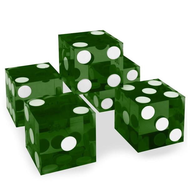 Precision Dice - Set of 5 Green Grade A 19mm d6s