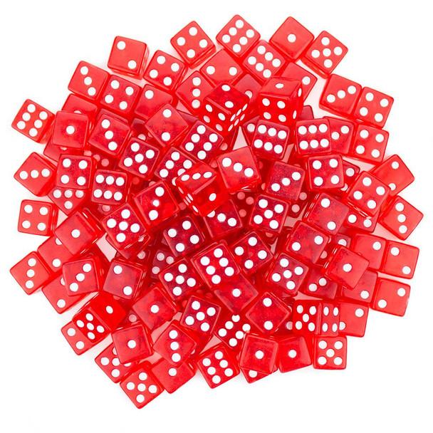 Transparent red dice - Set of 100