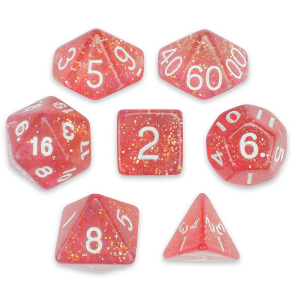 Glitter 7-piece Dice Set in Velvet Pouch - Royal Bubblegum