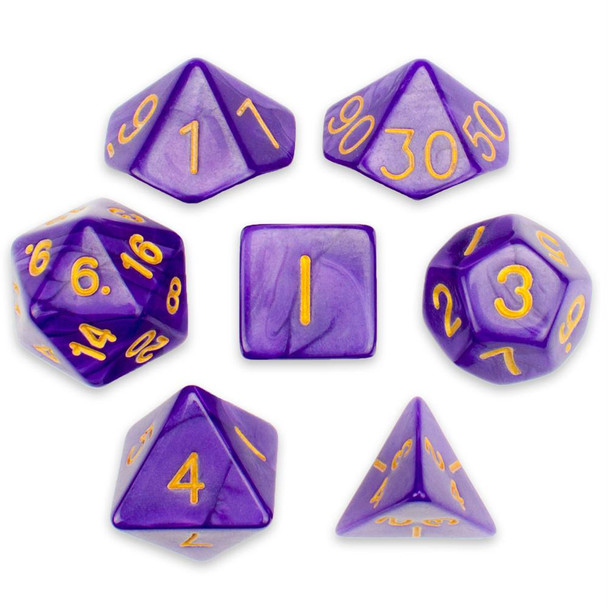 Pearlized 7-piece Dice Set in Velvet Pouch - Lucid Dreams