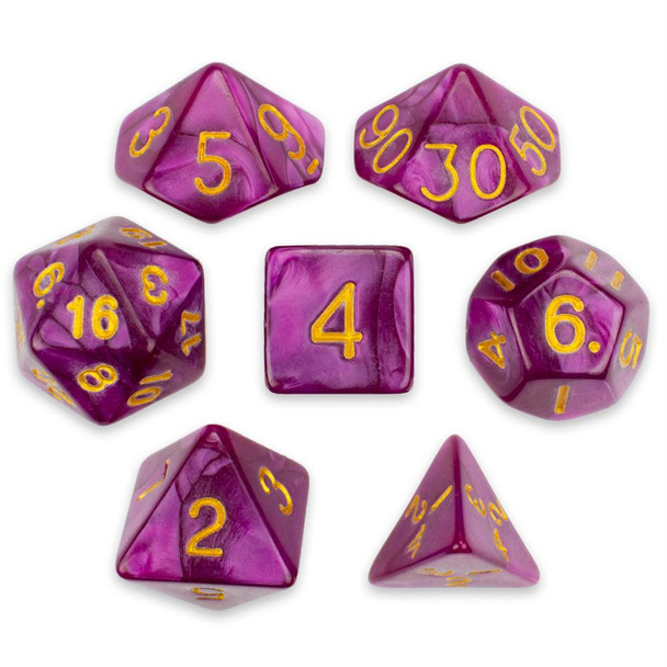 Pearlized 7-piece Dice Set in Velvet Pouch - Abyssal Mist