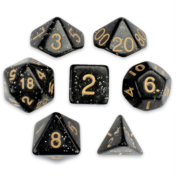 Glitter 7-piece Dice Set in Velvet Pouch - Stardust