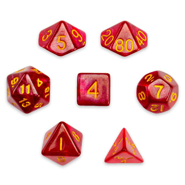Glitter 7-piece Dice Set in Velvet Pouch - Philosopher's Stone