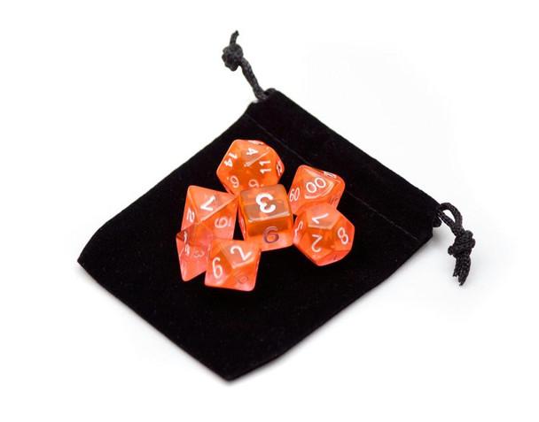 Transparent orange dice set