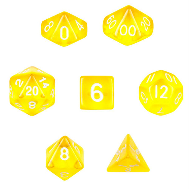 Transparent yellow dice set