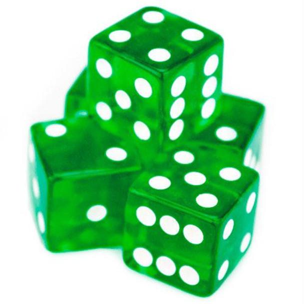 Transparent green dice - 19mm