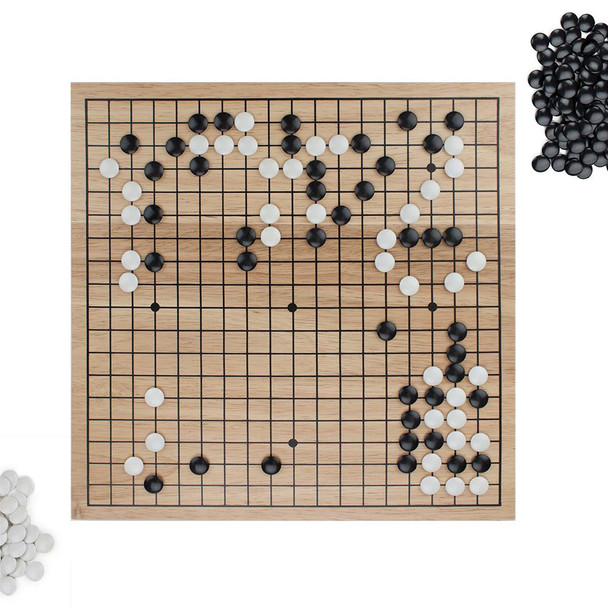 Game of Go Set with Wooden Board and Complete Set of Stones