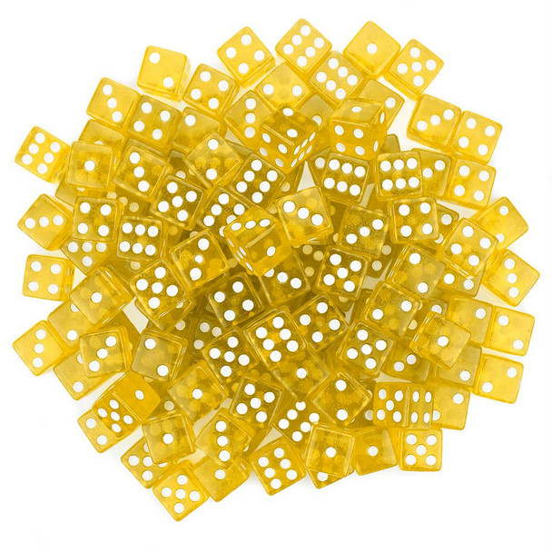 Transparent yellow dice - 16mm