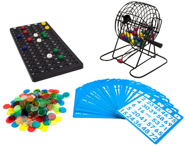 """Deluxe 6"""" Bingo Game w/Colored Balls, 300 Chips and 50 Cards"""