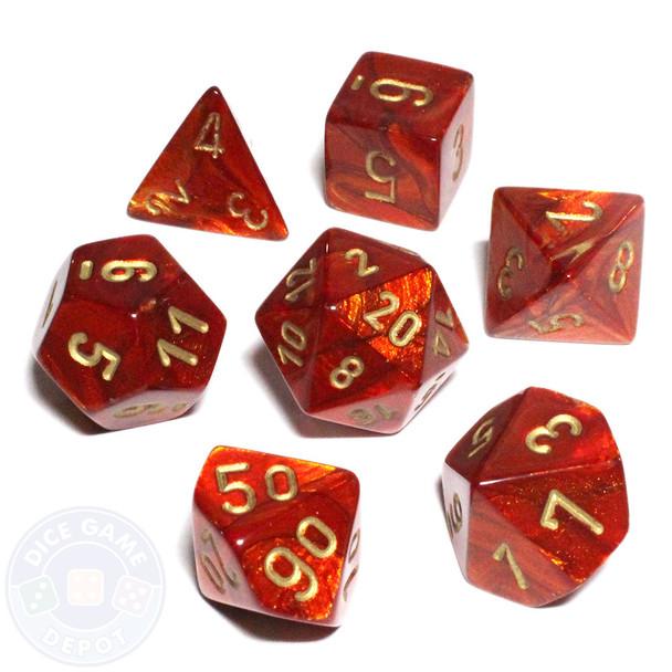 Scarab D&D dice set - Scarlet