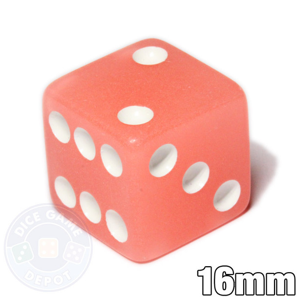 Glow in the Dark 6-Sided Dice - Peach