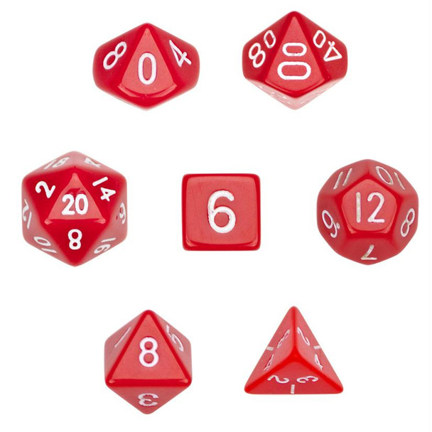 7-piece polyhedral dice set - Opaque red